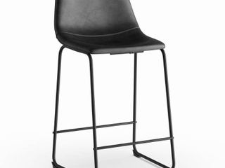 Carbon loft Prusiner Black Faux leather Counter Stools  Set of 2  Retail 168 41
