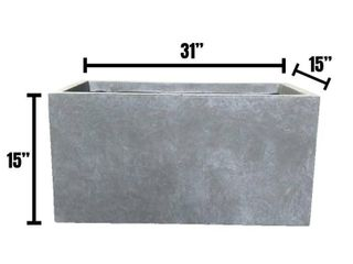 Durx litecrete lightweight Concrete Modern long Cement Color low Planter large   31 1 x14 6 x14 8  Retail 143 49