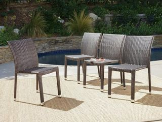 Dover Outdoor Wicker Aluminum Stacking Chair  Set of 4  by Christopher Knight Home  Retail 319 99