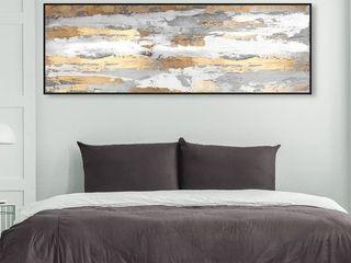 Oliver Gal Abstract Wall Art Canvas Prints  Spirit of Gold  Paint   Gold  Gray  Retail 138 49