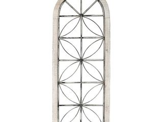 Stratton Home Decor Distressed White Metal and Wood Window Panel   16 65 X 0 98 X 43 00