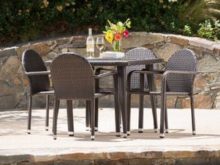 Astor Outdoor 4 piece Square Aluminum Wicker Set by Christopher Knight Home  Retail 559 99
