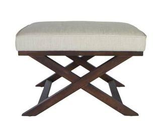 Porch   Den Palmer Cross legs Beige linen X Bench Ottoman  Retail 134 99