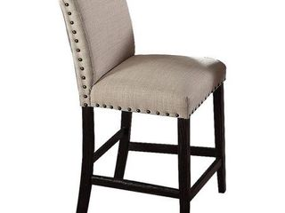 Best Master Furniture Antique Black Upholstered linen Distressed Counter Height Chair  Set of 2  Retail 156 99