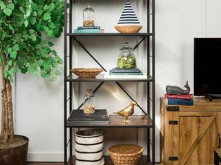 Carbon loft Ora Industrial Rustic Bookshelf   Dark Walnut