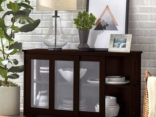 Porch   Den Jefferson Glass Sliding Door Stackable Cabinet  Retail 145 99