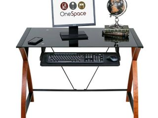 OneSpace 50 JN15K05 Glass and Wood Computer Desk with Pullout Keyboard Tray  Retail 169 99