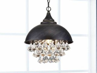 Visalia Antique Black Single light Crystal Chandelier  Retail 131 99