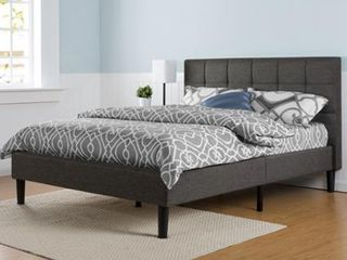 Priage by ZINUS Grey Upholstered Square Stitched Platform Bed Frame  Retail 282 99