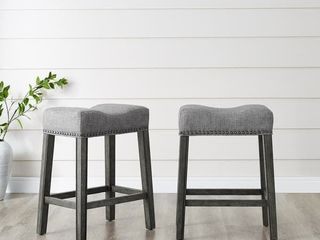 The Gray Barn Barish Backless Saddle Seat Counter Stools  Set of 2    Retail 119 99