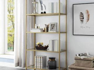 Florh Glass Shelves Gold Bookcase  Retail 328 49