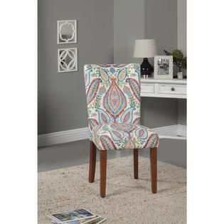 HomePop Coral and Turquoise Paisley Parson Chair  Set of 2  Retail 139 49
