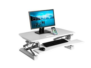 AIRlIFT White 35 4 in Height Adjustable Standing Desk Converter Workstation With Dual Monitor Riser and Keyboard Tray  Retail 188 99