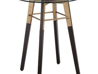 Madison Park Crsytal Clear  Antique Gold End Table  Retail 202 49