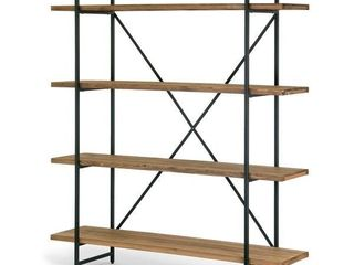 Brown Wood Metal 4 shelf Etagere Bookcase