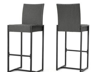 Conway Outdoor Wicker Barstools  Set of 2  by Christopher Knight Home  Retail 337 99