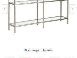 Henn Hart 55  3 Shelf Metal Satin Nickel Gray Console Table with Glass Shelves