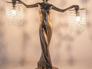 Gracewood Hollow Sansal Bronze Resin 23 75 inch Grecian Goddess Beaded Table lamp   22 l x 7 625 W x 23 75 H  Retail 221 49