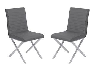 Armen living Tempe Grey Faux leather and Stainless Steel Dining Chair   Set of 2  Retail 353 99