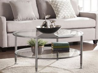 Carbon loft Glenn Silver Metal Glass Round Cocktail Table  Retail 174 99