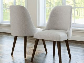 Abbyson Retro Upholstered Mid Century Dining Chair  Set of 2  Retail 325 49