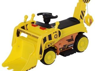 Aosom 6V Electric Bulldozer Ride On Construction Excavator Toy Vehicle for Kids with Music  lights  and Shovel  Retail 105 99