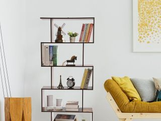 Carson Carrington Brinton White  Copper Finish Metal Bookcase Etagere   Retail 138 49