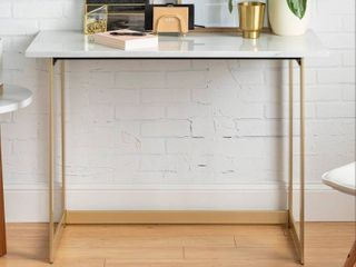 Silver Orchid Hasmik Rectangular Faux Marble Console Table  Retail 151 49