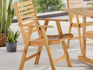 Hatteras Outdoor Patio Eucalyptus Wood Dining Armchair in Natural