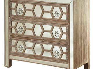 StyleCraft 3 Drawer Mirrored Front Hazelnut Wood Chest  Retail 436 99