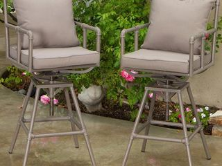 Northrup Pipe Outdoor Adjustable Barstool with Cushion  Set of 2  by Christopher Knight Home  Retail 348 99