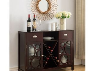 K B Furniture Dark Cherry Wood Wine Cabinet