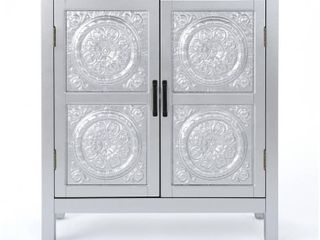 Alana Farmhouse Distressed Firwood Cabinet with Carved Panels  Retail 175 99