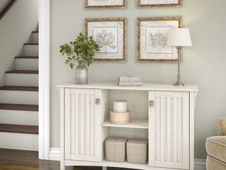 The Gray Barn lowbridge Antique White Storage Cabinet with Doors   46 22 l x 12 76 W x 29 96 H  Retail 168 99