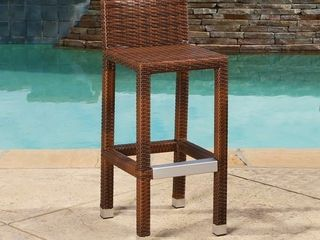 Abbyson Cailen Outdoor Wicker Bar Stools  Set of 2  Set of 2   Brown  Retail 139 99