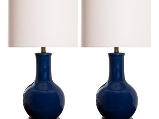 Abbyson Gourd Navy Blue Ceramic 29 inch Table lamp  Set of 2  Retail 182 99