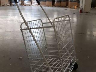 White Folding Push Shopping Cart