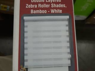 ShadesU Double layered Zebra Roller Shades Bamboo White