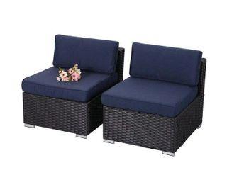 Phi Villa 2pcs sofa w o armrest blue cushion