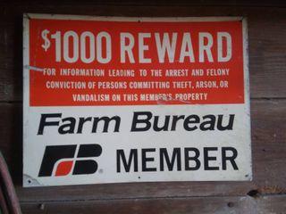 Vintage Farm Bureau Member Sign