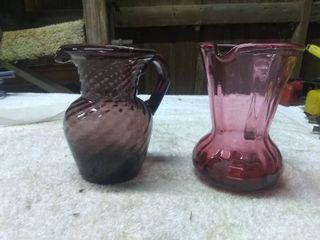 2 Vintage Purple Pink Glass Pitchers