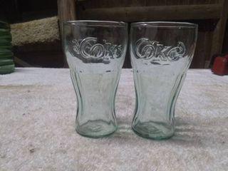 2 Small Glass Coca Cola Glasses