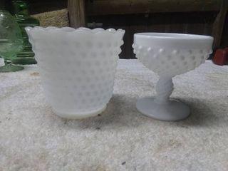 2 Vintage Milk Glass Decorative Glass Pieces