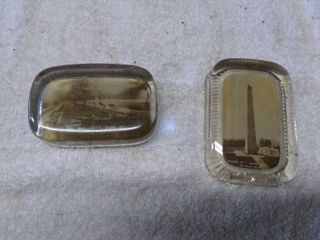 2 Vintage Picture Paper Weights