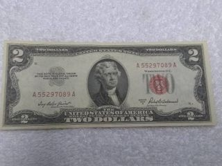 Red Two Dollar Bill Series 1953 A