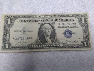 Blue One Dollar Silver Certificate Series 1935 E