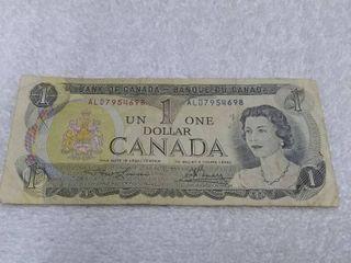One Canada Dollar Ottawa 1973
