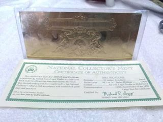 National Collector s Mint Gold Two Dollar Bill