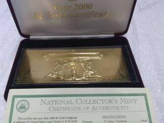 National Collector s Mint Two Dollar Gold Certificate Series 2000