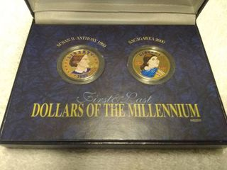Susan B Anthony 1999 and Sacagawea 2000 First and last Dollars of the Millennium